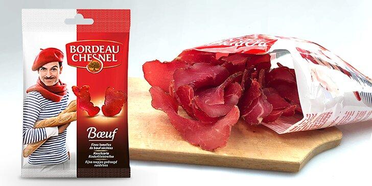 Prvotřídní snacky z 96 % masa: sušené hovězí a vepřové chuťovky z Francie