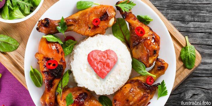 Vietnamské menu pro 2–4 osoby: 1700 g pečeného kuřete s rýží a polévka k tomu