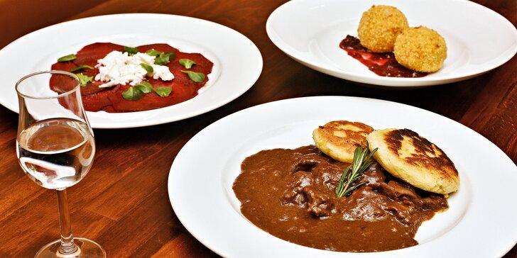 3chodové degustační menu: carpaccio z řepy, jelení kýta na šípkové, zmrzlina