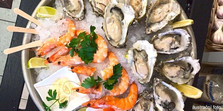 Čerstvé ústřice a krevety v Seafood - na výběr ze tří plat