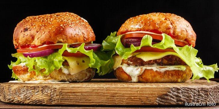 2× hamburger výběrem z 5 druhů, např. řecký nebo Mexico+ hranolky