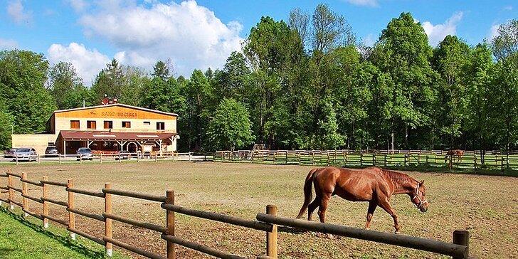 Pobyt na ranči pro dva či pro rodinu: polopenze a jízda na koni