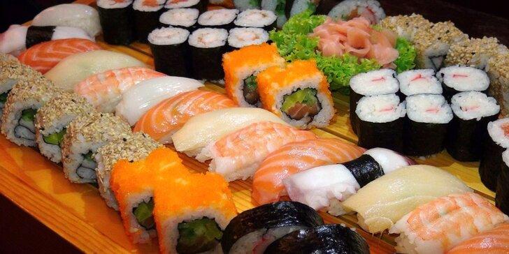Kouzelná chuť Asie: 28, 48, 56 i 72 kousků sushi vč. plněných taštiček a polévky