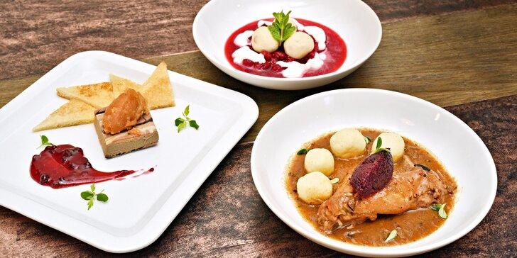 4chodové menu pro 2: parfait z kachních jater, vývar, konfitovaná husa i lívance