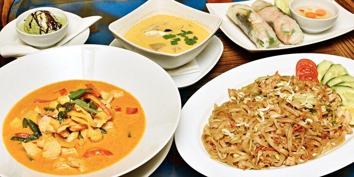 Asijské 4chodové menu pro 2: thajská, vietnamská i japonská kuchyně