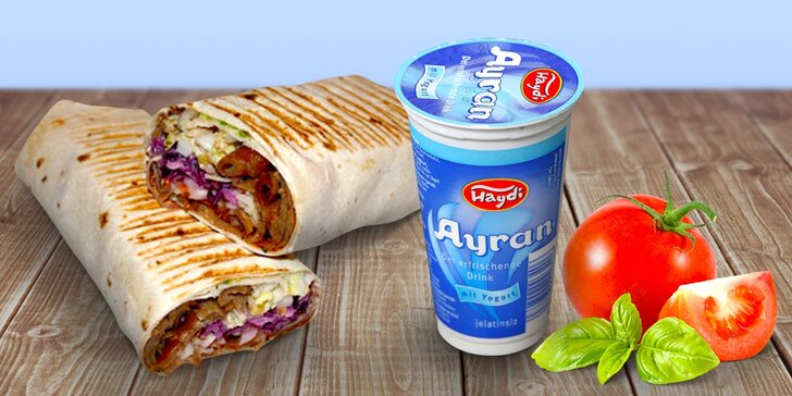 Vzhůru na kebab: Twister s grilovaným masem, sýrem a nápojem pro 2 jedlíky