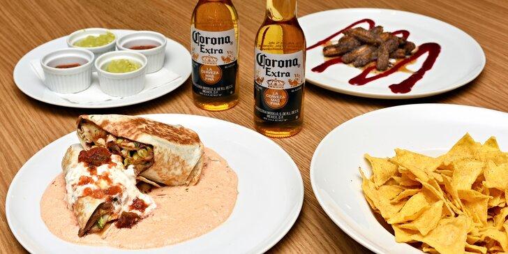 Mexické menu s pivem Corona i bez: nachos, burrito i dezert churro pro 2 osoby