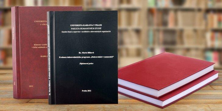 Svázáno za 3 hodiny: Expresní vazba 1 nebo 2 bakalářských či diplomových prací