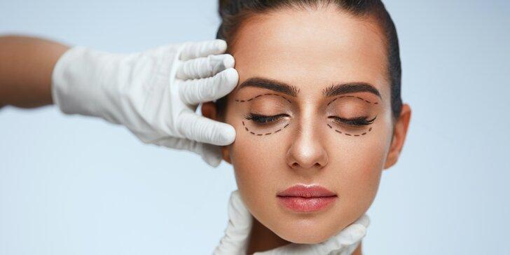 Záloha na plastickou operaci horních či dolních očních víček v centru Medinel