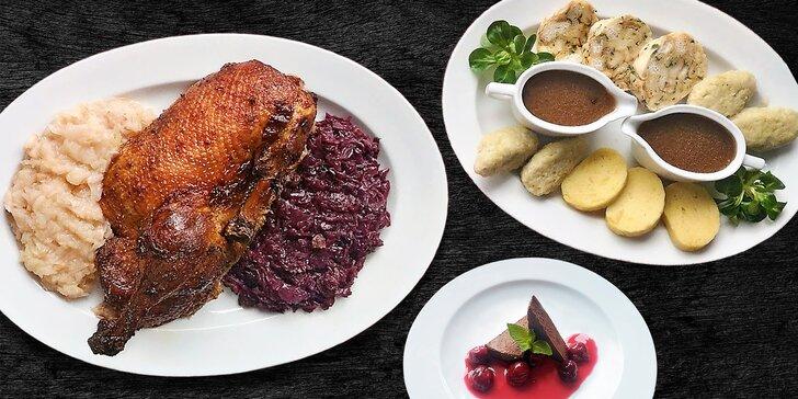 Staročeské menu pro 2 osoby: játrová paštika, ½ křupavé kachny i parfait s višněmi