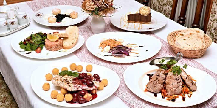 3chodové degustační menu pro 2 s výběrem jídel vždy ze 3 variant