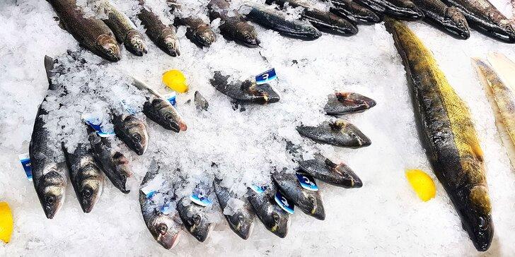 Čerstvé chlazené mořské ryby: tuňák, mořský vlk či pražma královská