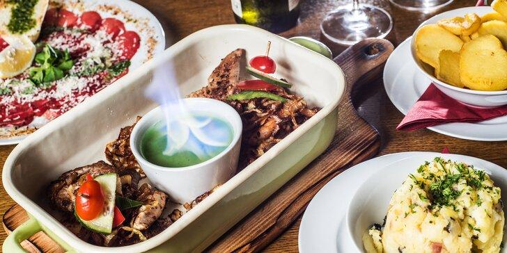 Gurmánské vzplanutí: tříchodové menu s 3 druhy masa a restovanou cibulkou