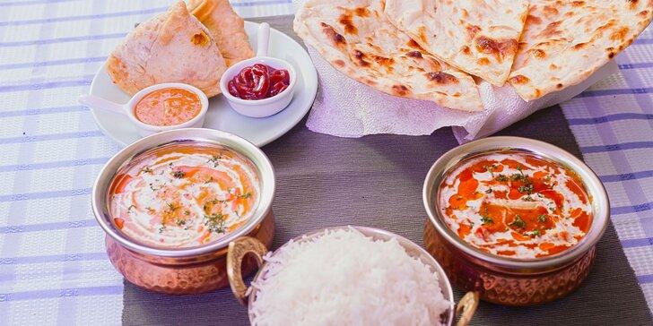 Indické menu pro 2 osoby: vegetariánské, kuřecí i tandoor speciality