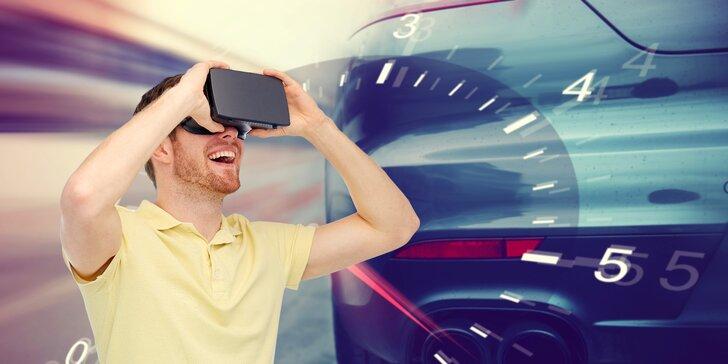 60 min. zábavy v závodních křeslech s volantem a VR brýlemi Oculus Rift
