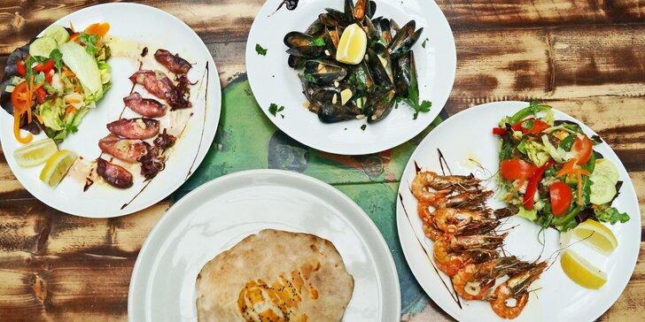 Plody moře na grilu: olihně, slávky nebo krevety pro 1 nebo 2 osoby