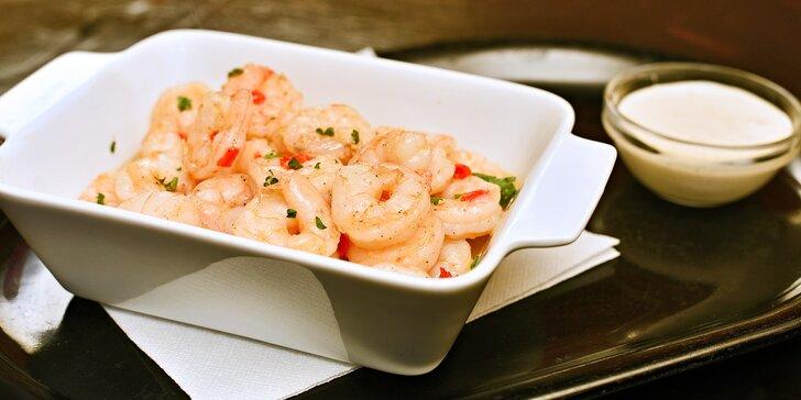Krevety na česneku s rozpečenou bagetkou a omáčkou aioli pro 1–2 osoby