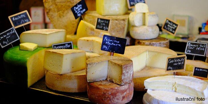 600 nebo 1000 g sýrů z kravského i kozího mléka: Brie, Manouri či Comté