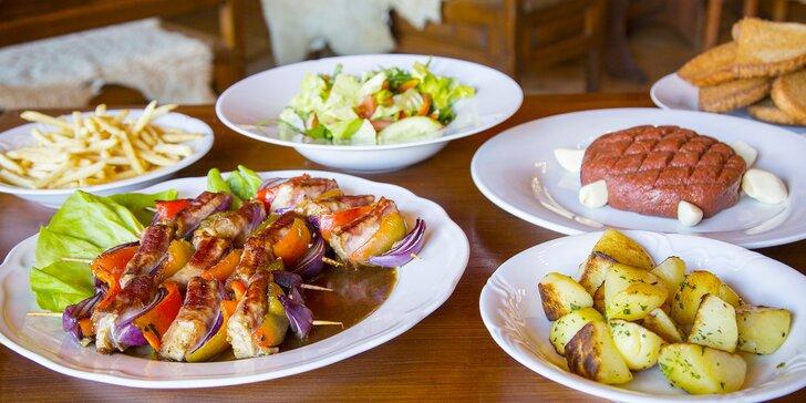 Gurmánské menu až pro 4 osoby: vepřové špízy, tatarák, přílohy i salát