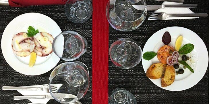 Degustační 6chodové menu u zámku: mořské plody, risotto i steak z tuňáka