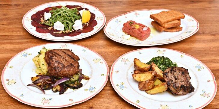 Tříchodové menu s telecí kýtou nebo jehněčím steakem a vínem pro dva