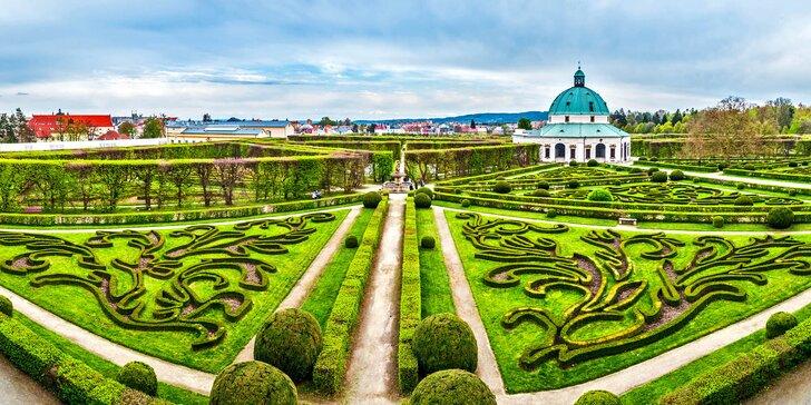 Romantika v Kroměříži s degustací vín, večeří, saunou i prohlídkou zámku