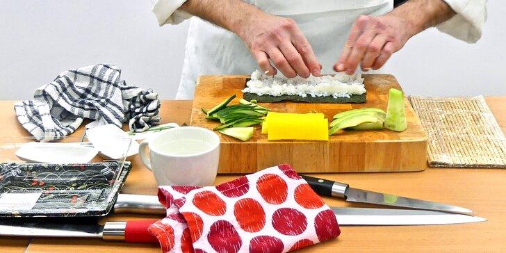 3hodinový kurz přípravy sushi s občerstvením a certifikátem