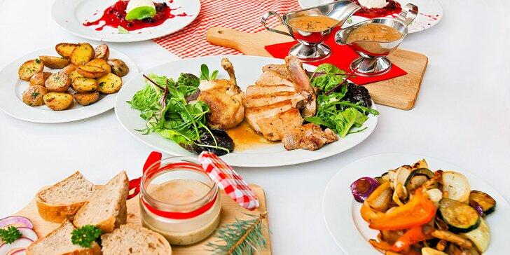 3chodové menu: domácí paštika, kuřecí supreme i vepřový T-Bone steak