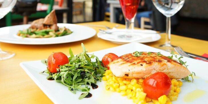 3chodové menu pro 1 či 2: polévka, panenka nebo losos, dezert a káva