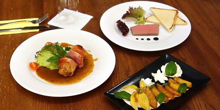 Degustační 3chodové menu pro dva: paštika, grilovaná panenka a dezert