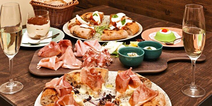 Tříchodové menu v italském stylu pro 2: předkrm, pizza Gourmet a dezert