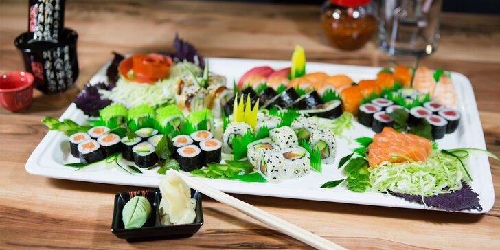 Sushi menu dle výběru: až 60 ks čerstvého sushi v srdci města