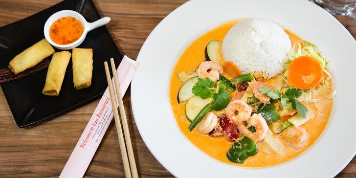 Výběr z asijského menu: Bun bo nam bo, hovězí Pho Bo i Pad thai + závitky