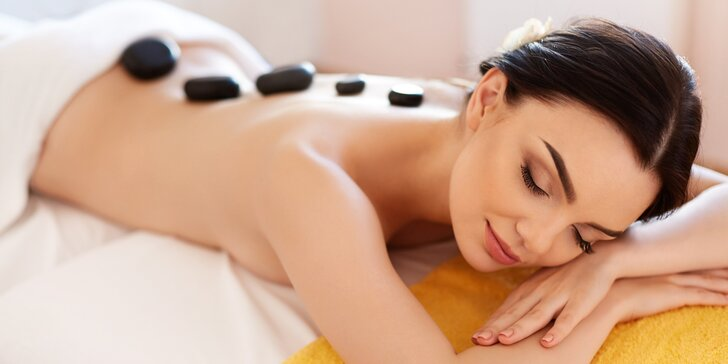 Masáž zad s lávovými kameny a relaxační masáž obličeje a dekoltu