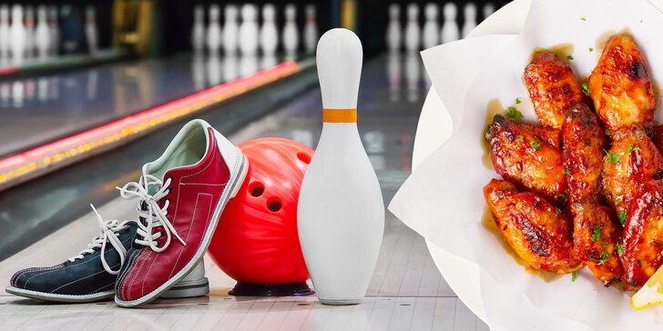 Zábava pro každou partu: bowling až pro 8 osob a 1 nebo 2 kg kuřecích křídel