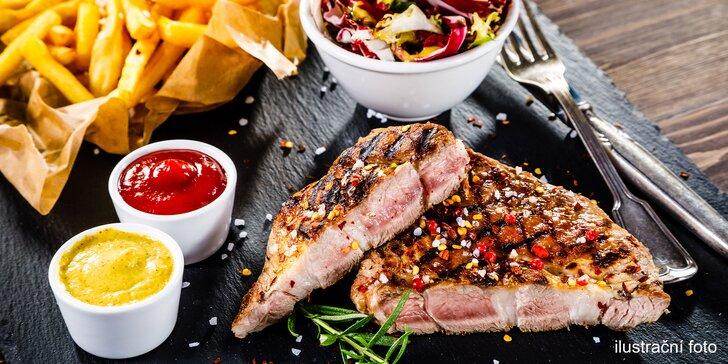 Pošmákněte si: 3 druhy steaků, salátová variace, hranolky a dezert pro 2
