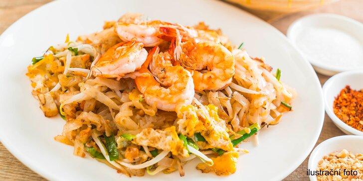 Vietnamská specialita: smažené široké rýžové nudle s krevetami