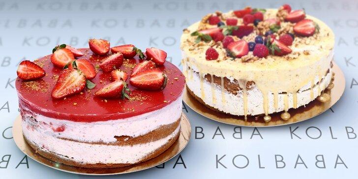 1,5kg dorty z cukrárny Kolbaba: jahodový či medovo-ořechový, až 14 porcí