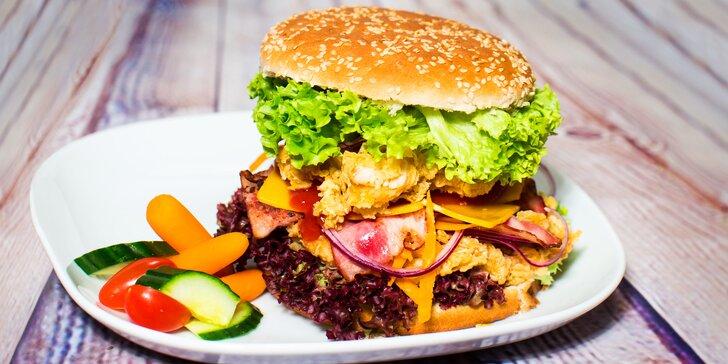 Kuřecí burger, twister nebo dětské menu s hranolky a pitím dle výběru