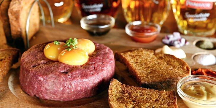 Tatarský biftek s topinkami a pivo – na výběr 8 druhů včetně speciálů