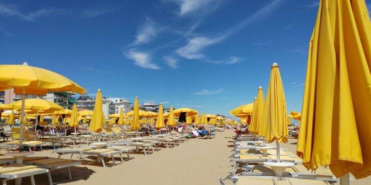 Lido di Jesolo s polopenzí vč. nápojů, 50 m od pláže, plážový servis v ceně