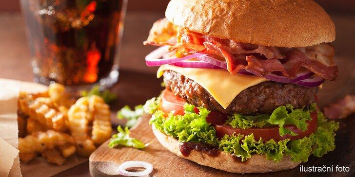 Poctivý americký burger dle výběru z 5 druhů, steakové hranolky a nápoj