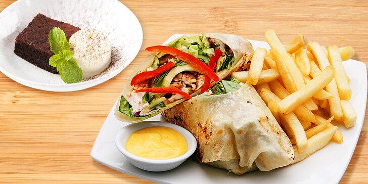 Tortilla s kuřecím masem a sýrem, hranolky a dezert pro 1 nebo 2