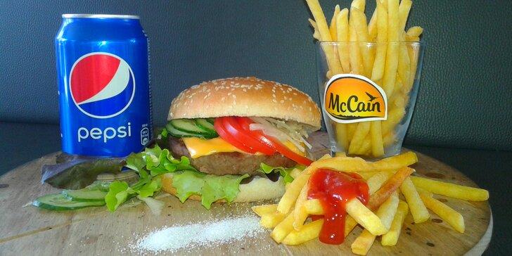 Dobrota do ruky: hovězí burger s hranolky a Pepsi pro 1 či pro 2