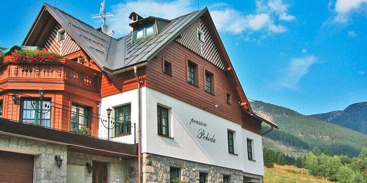 Léto či podzim ve Špindlerově Mlýně s polopenzí i odpočinkem v sauně