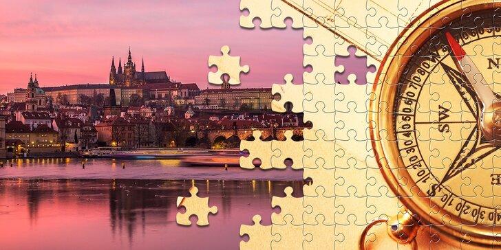 Zábavná venkovní hra Puzzle out v centru Prahy