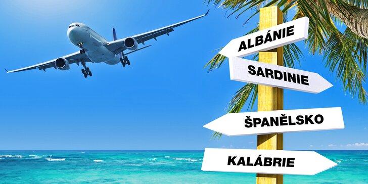 Zpáteční letenky na Sardinii, do Kalábrie, Španělska i Albánie, červnové odlety