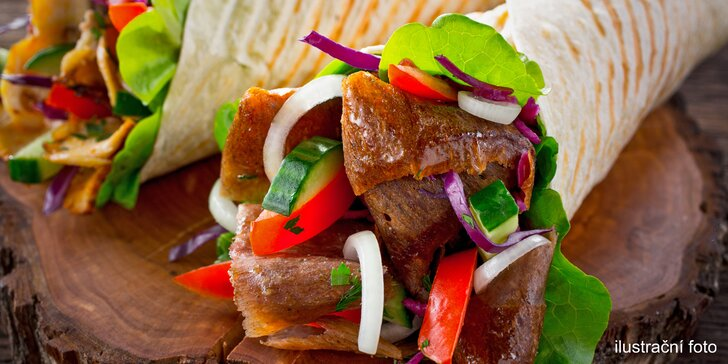Kebab pro dva: twister s grilovaným masem, sýrem a nápojem