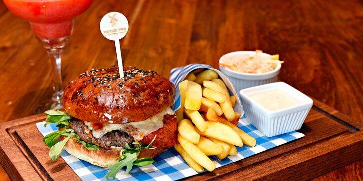 Luxusní Premium Rib-eye Burger s výběrovým masem v elegantním prostředí