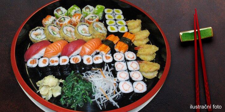 Sushi set se 47 kousky: s lososem, tuňákem, krevetou i avokádem